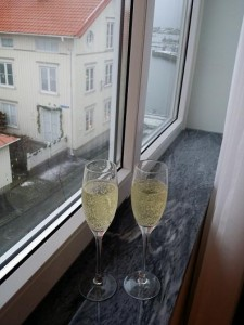 Champagnefruskost på bröllopsdagen.