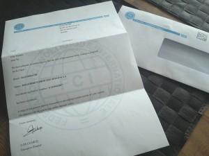 Trevligt brev från FCI!