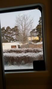 Snöigt ute och varmt inne.